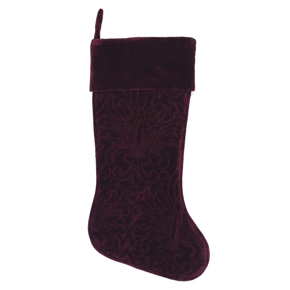 Sangria Cotton Velvet Embroidered Quilted Christmas Eve Decorative Christmas Stocking
