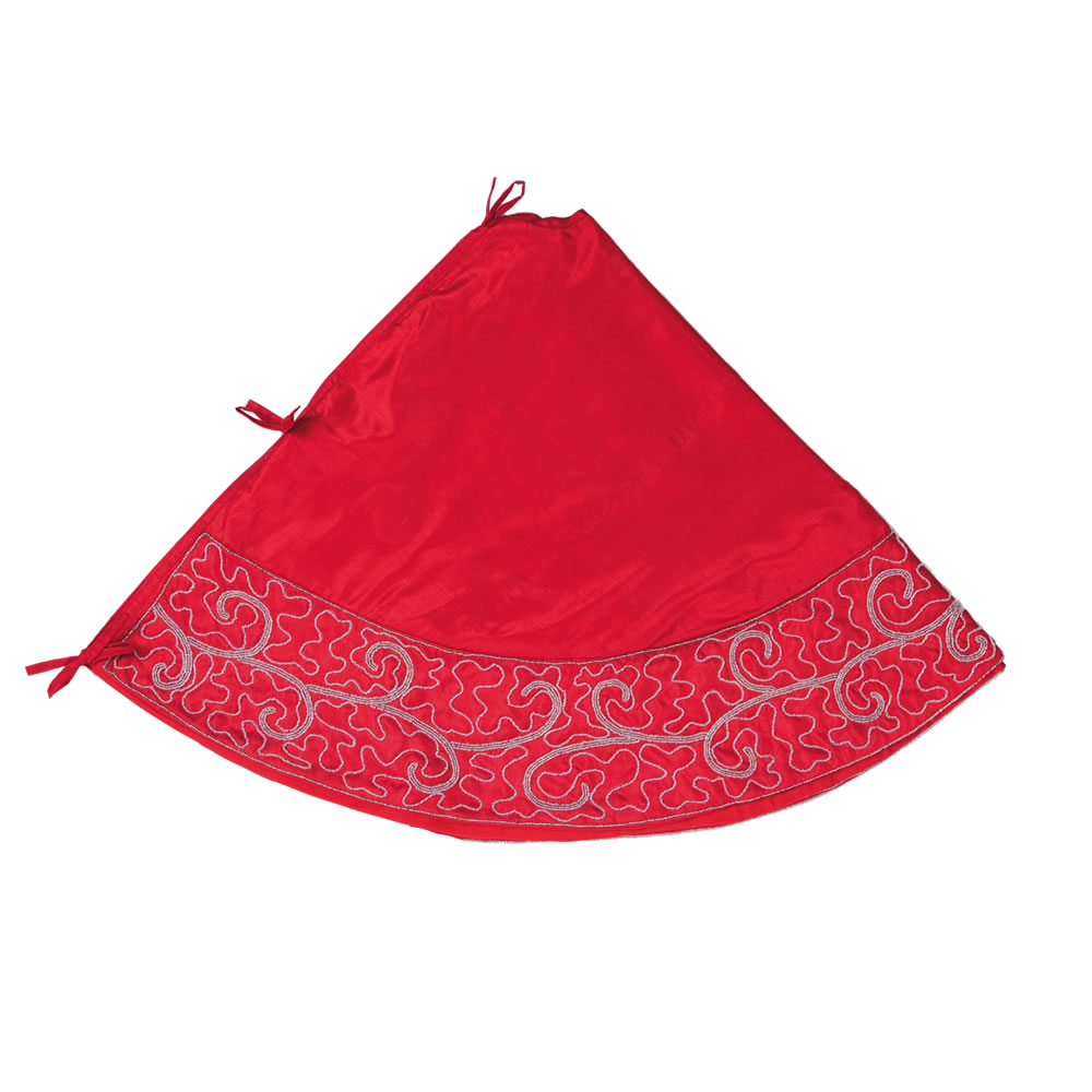 60 Inch Red Polysilk Dupioni Silver Beaded Filigree Scroll Decorative Christmas Tree Skirt