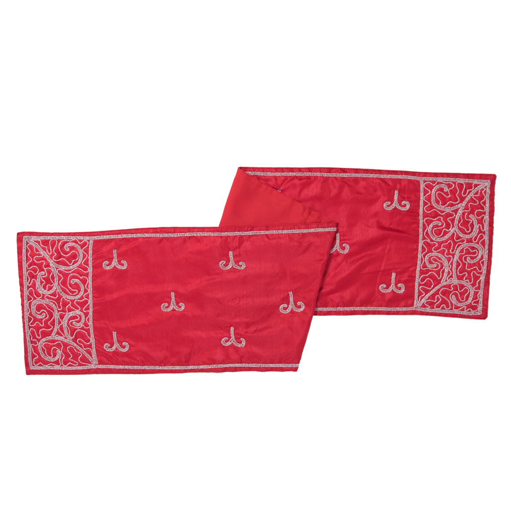 Red Polysilk Dupioni Silver Beaded Filigree Scroll Decorative Christmas Table Runner