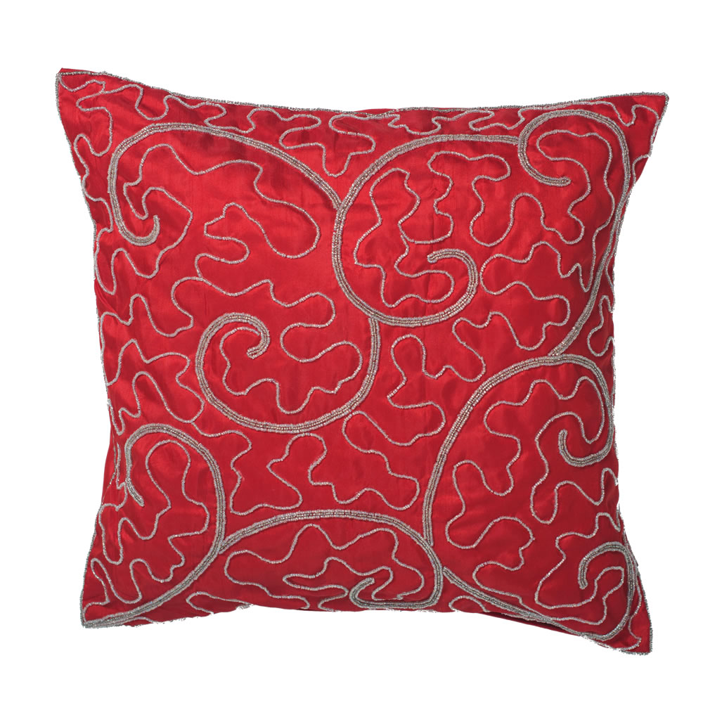 18 Inch Red Polysilk Dupioni Silver Beaded Filigree Scroll Decorative Christmas Pillow