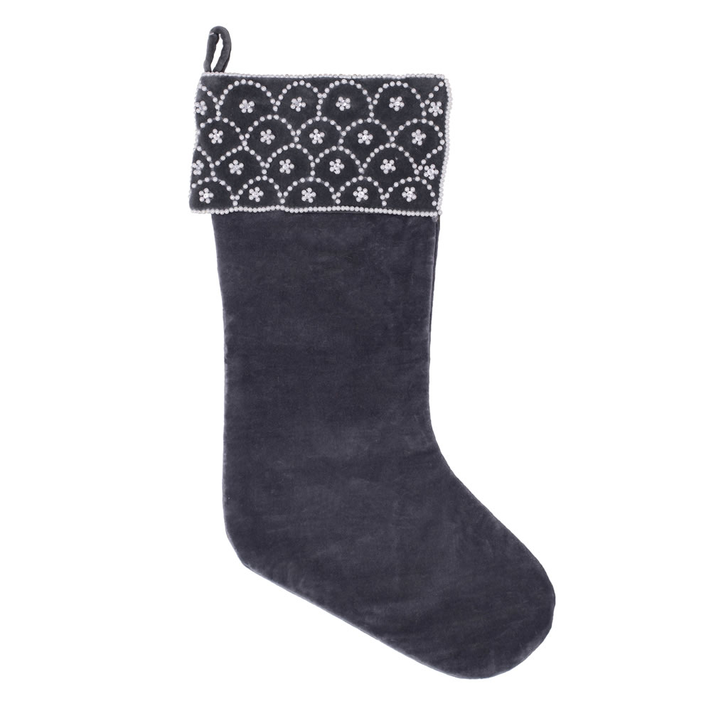 Gray Plush Cotton Velvet Pearl and Crystal Blue Pearl Decorative Christmas Stocking