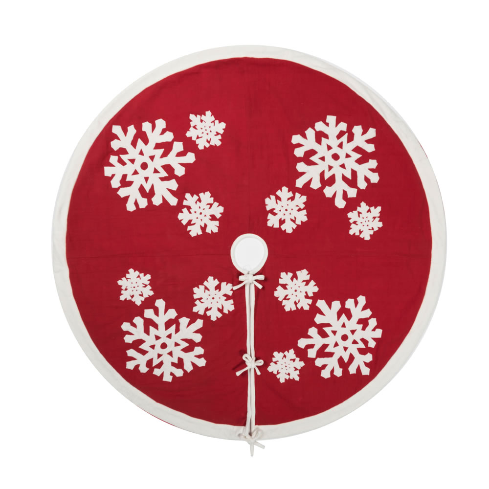60 Inch Red and White Snowflake Cotton Duck Cloth Felt Flakes Decorative Christmas Tree Skirt
