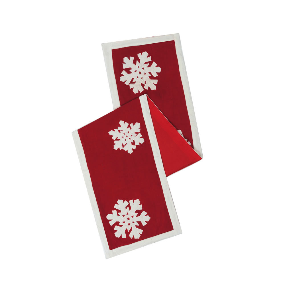Red White Snowflake Cotton Duck Cloth Felt Flakes Decorative Christmas Table Runner