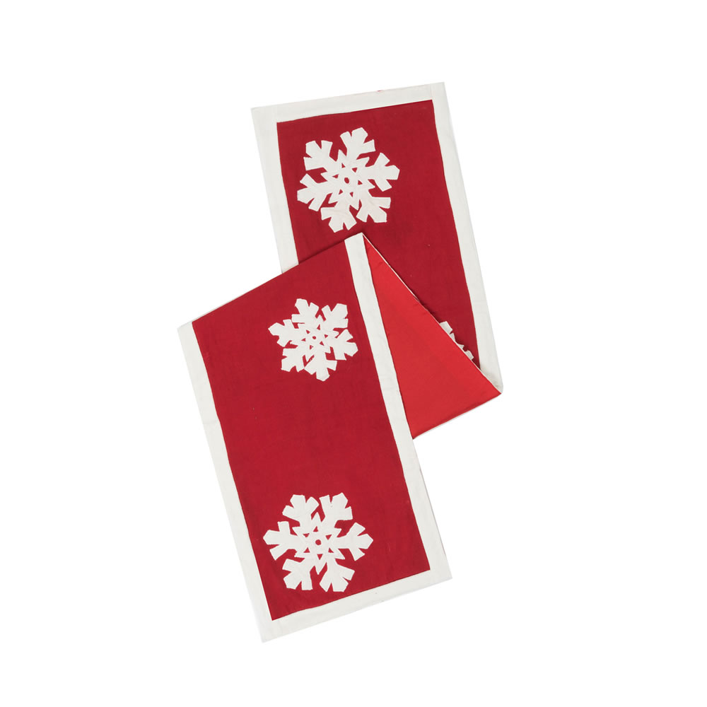 Red and White Snowflake Cotton Duck Cloth Felt Flakes Decorative Christmas Table Runner