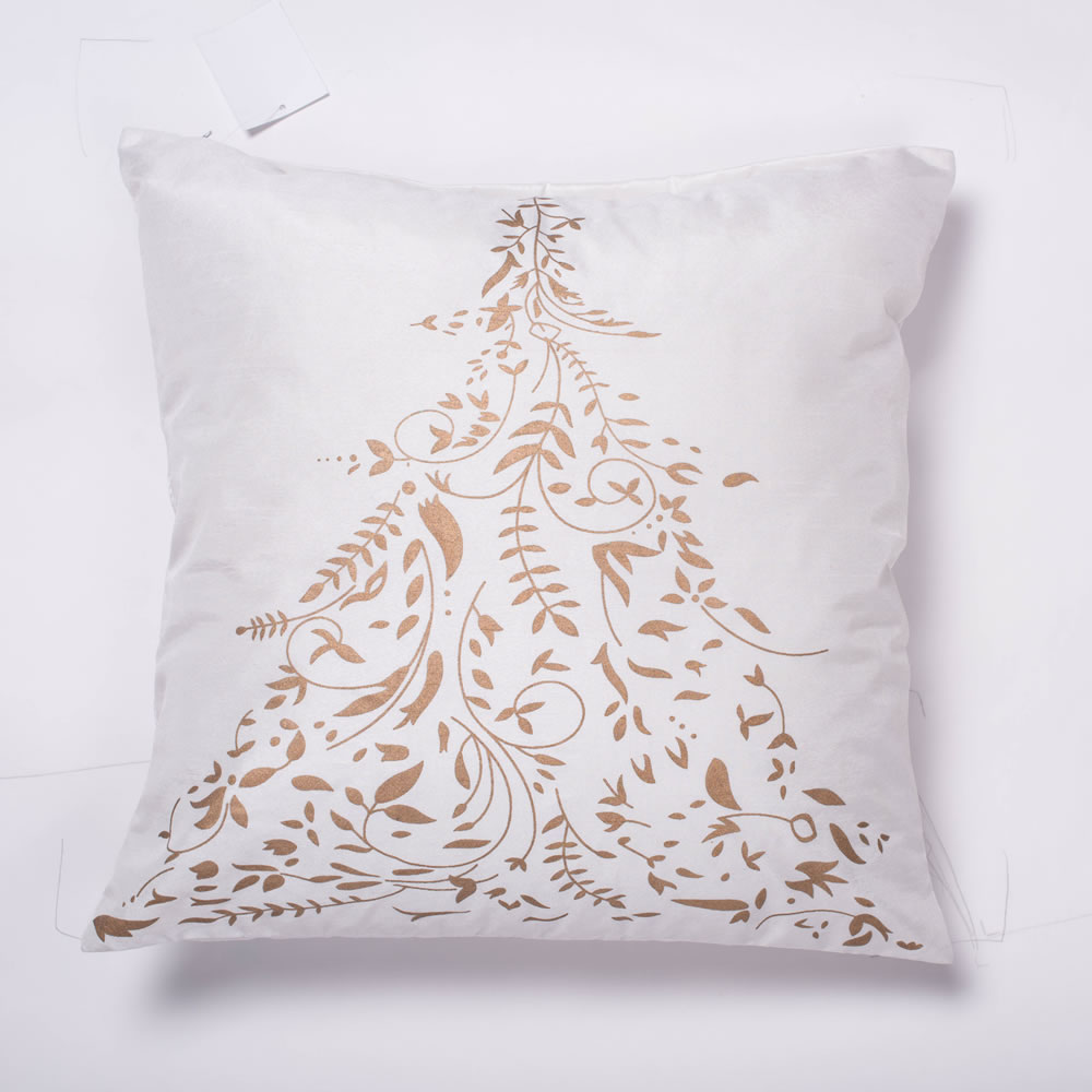 18 Inch Pure White Polysilk Dupioni With Tree Design Gold Stamped Decorative Christmas Tree Pillow