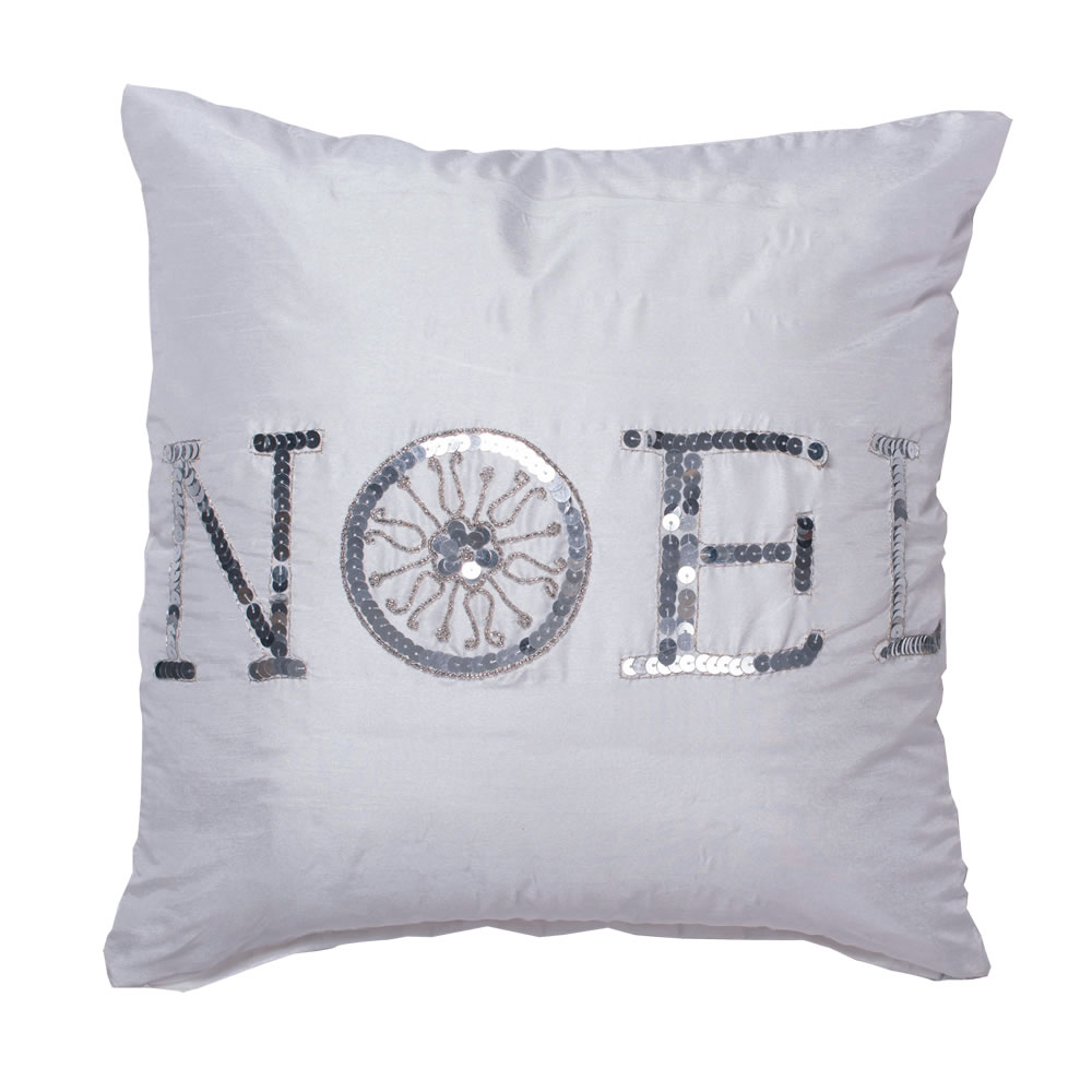 18 Inch Pure White Polysilk Dupioni Silver Sequin and Metallic Embroidered Noel Wording Sequin Decorative Christmas Pillow