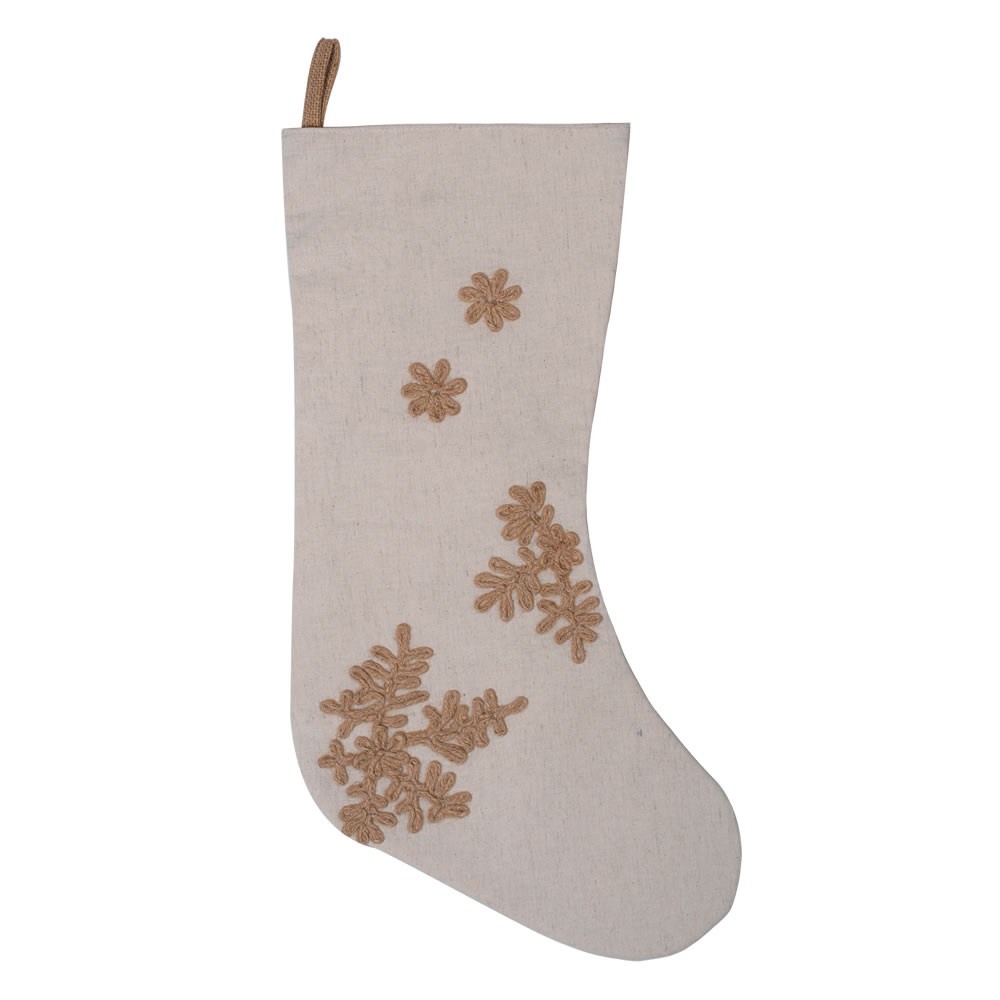 8 Inch Oatmeal Organic Natural Cotton Linen With Jute Rope Embroidery Falling Flakes Stocking
