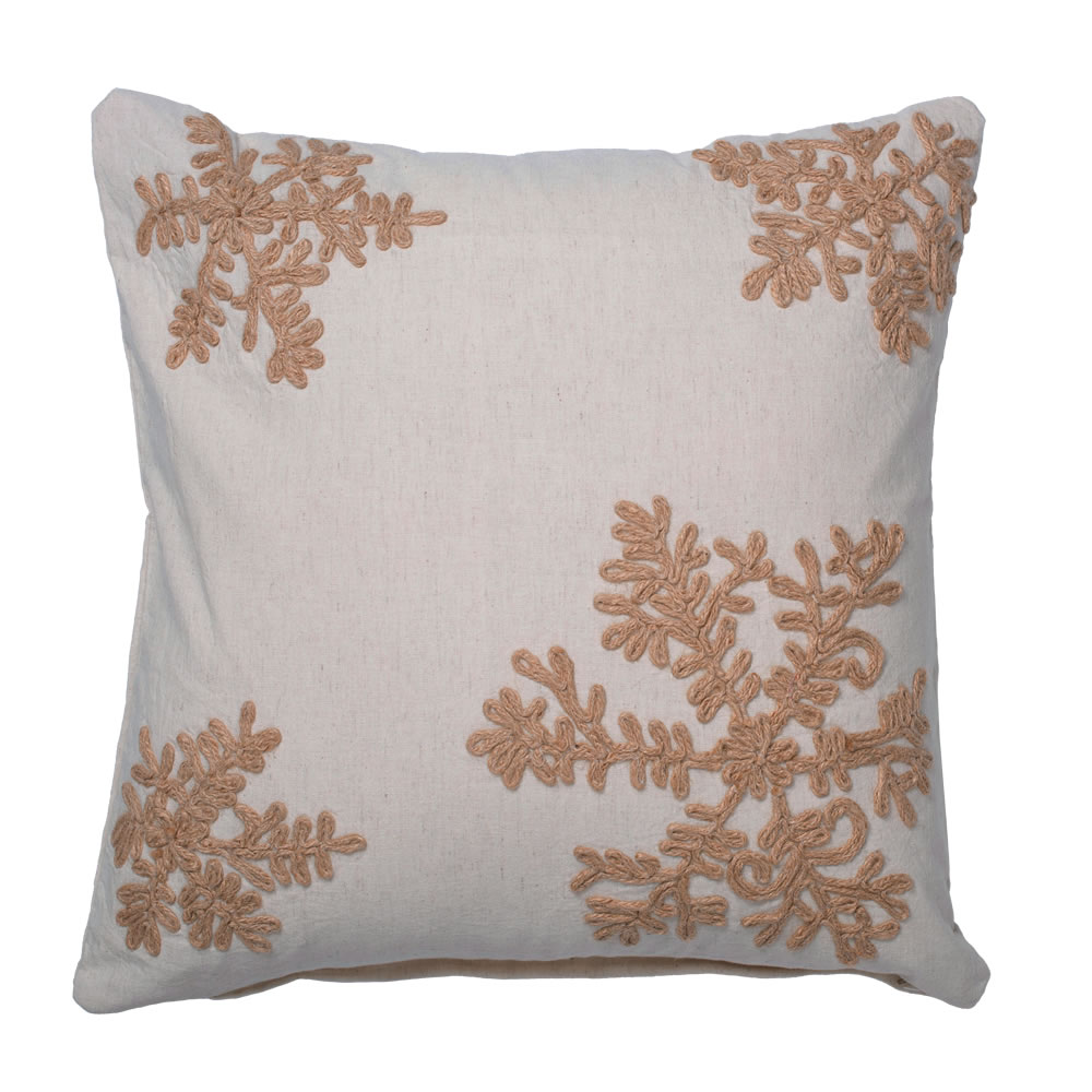 18 Inch Oatmeal Organic Natural Cotton Linen With Jute Rope Embroidery Falling Flakes Decorative Christmas Pillow