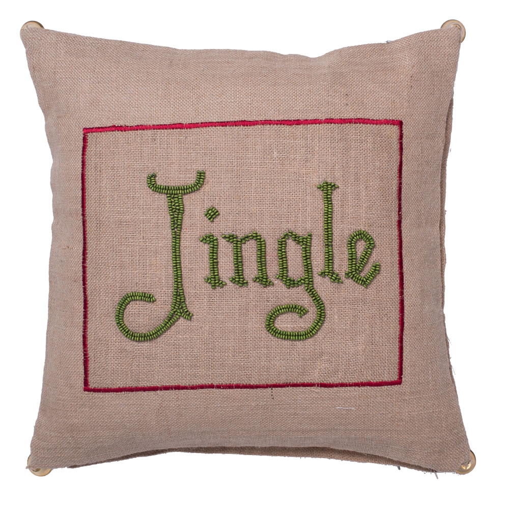 18 Inch Natural Burlap With Bead Embroidery and Bell Trim Jingle Decorative Christmas Pillow