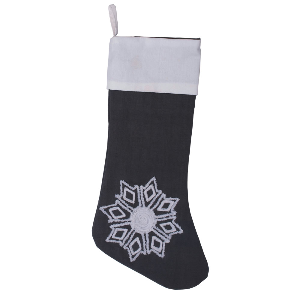 Frost Grey Duck Cloth With Pure White Cuff and Embroidered Motif Winter Snowflake Decorative Christmas Stocking
