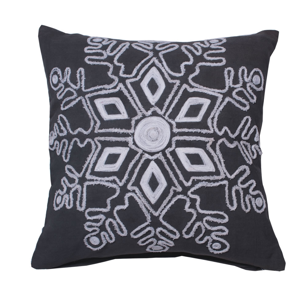 18 Inch Frost Grey Duck Cloth With Embroidered Motif Winter Snowflake Decorative Christmas Pillow
