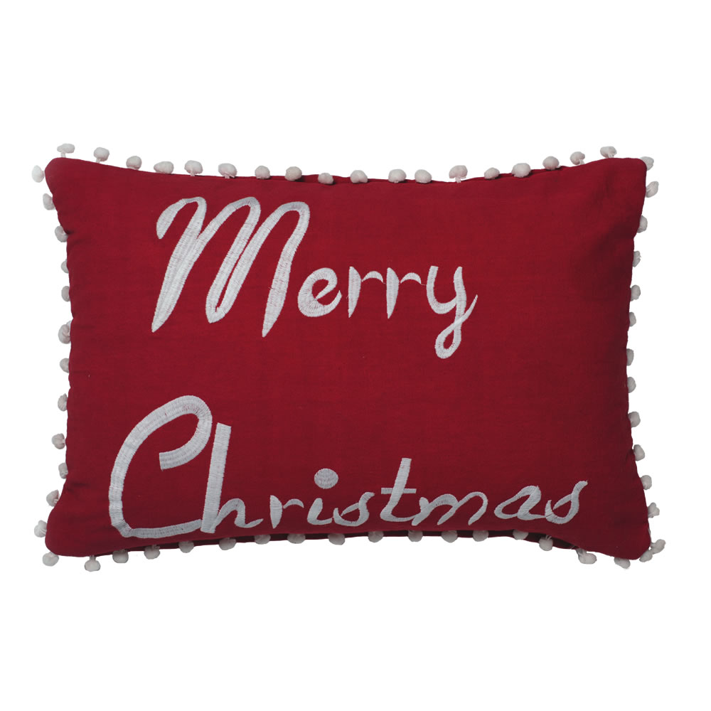 14 Inch Red Bright Whimsical Duck Cloth Logo With Boucle Embroidery and PomPom Trim Merry Christmas Decorative Christmas Pillow