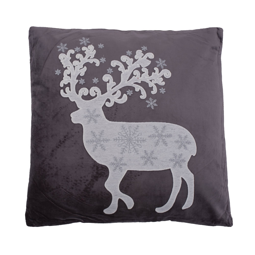 18 Inch Gray Cotton Velvet With White Aari and Silver Metallic Zari Embroidery Nordic Deer Decorative Christmas Pillow
