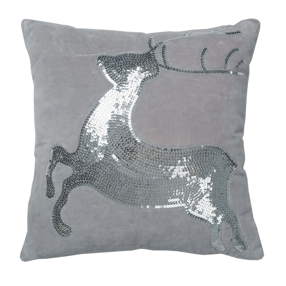 18 Inch Gray Cotton Velvet With Silver Sequin Motif Sparkling Deer Decorative Christmas Pillow