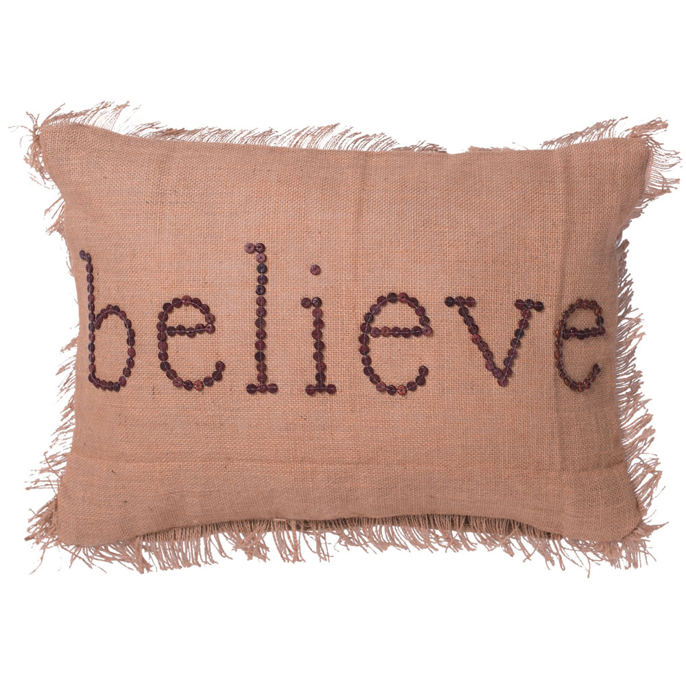 14 Inch Rustic Burlap With Wood Button Wording and Self Fringe Edging Believe Decorative Christmas Pillow