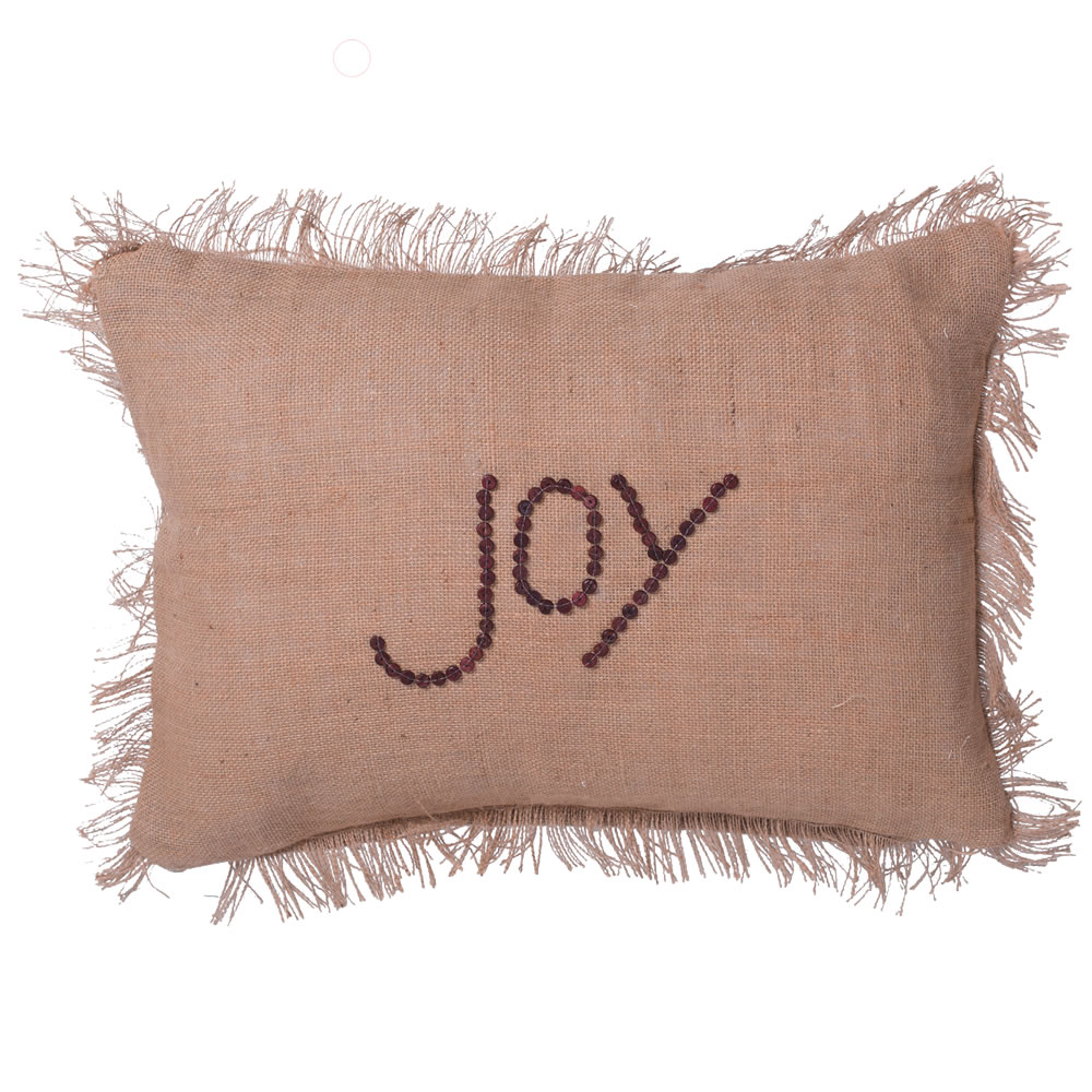 14 Inch Rustic Burlap With Wood Button Wording and Self Fringe Edging Joy Decorative Christmas Pillow
