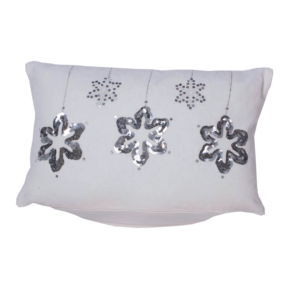 12 Inch Plush White Cotton Velvet With Sequin and Embroidery Motif Silver Flakes Decorative Christmas Pillow