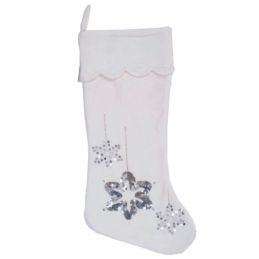 Plush White Cotton Velvet With Silver Sequin Embroidery Motif Silver Flakes Decorative Christmas Stocking