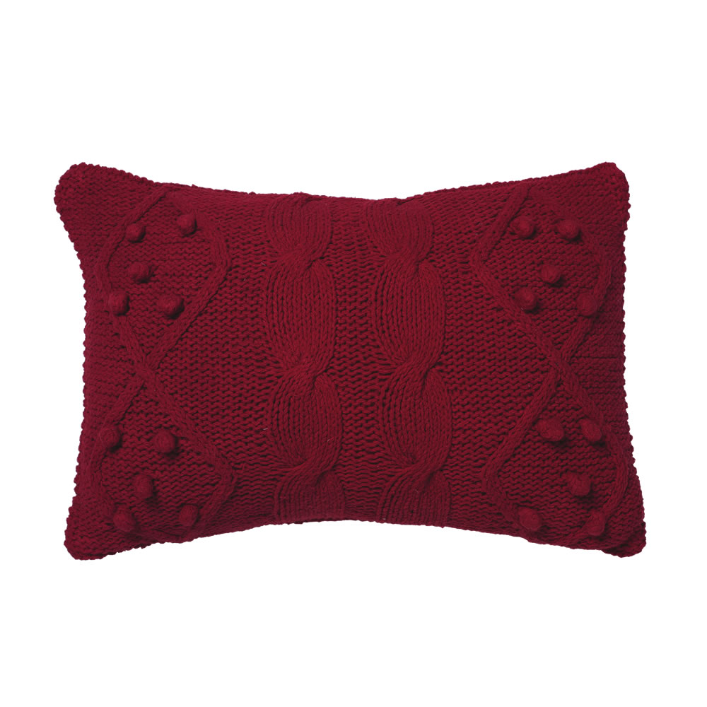 14 Inch Red Hand-knit Cotton Cable French Knot Cushion Decorative Christmas Pillow