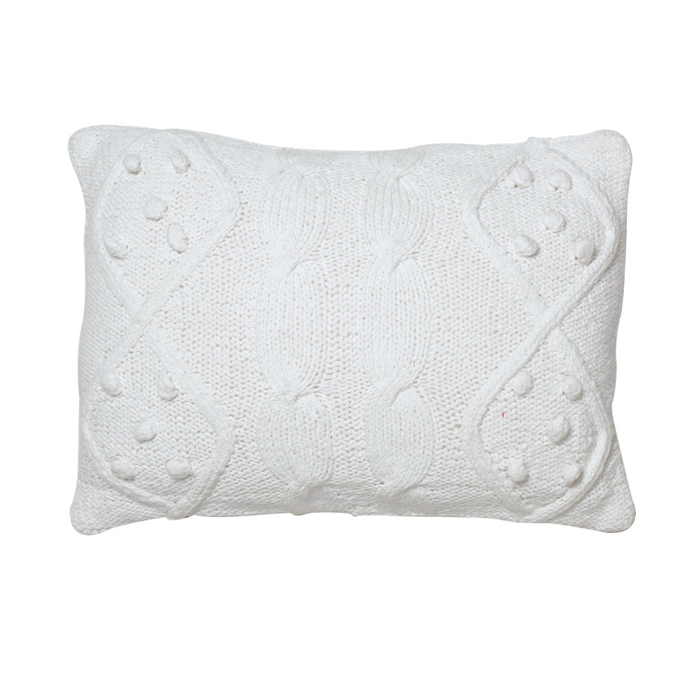 14 Inch White Hand-Knit Cotton Cable French Knot Cushion Decorative Christmas Pillow