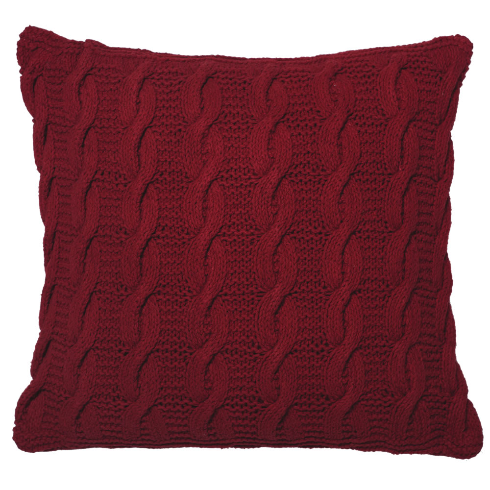 18 Inch Red Hand-knit Cotton Cable Cushion Decorative Christmas Pillow