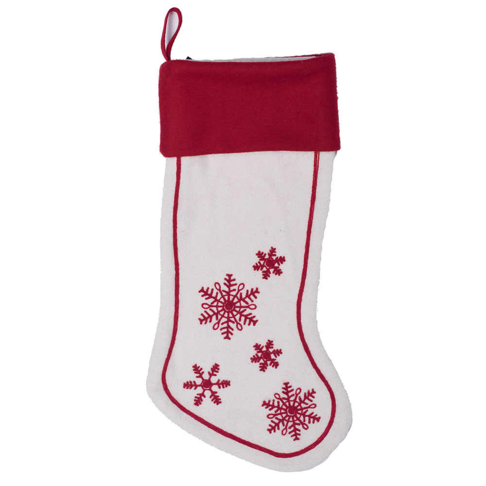 Red and White Festive Wool Felt With Aari Embroidery Motif Let It Snow Decorative Christmas Stocking
