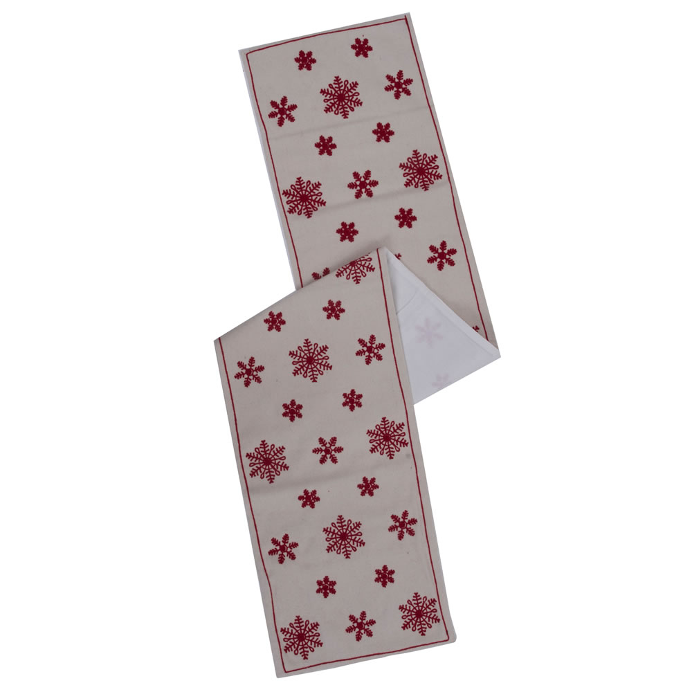 White Red Festive Wool Felt Aari Embroidery Let It Snow Table Runner