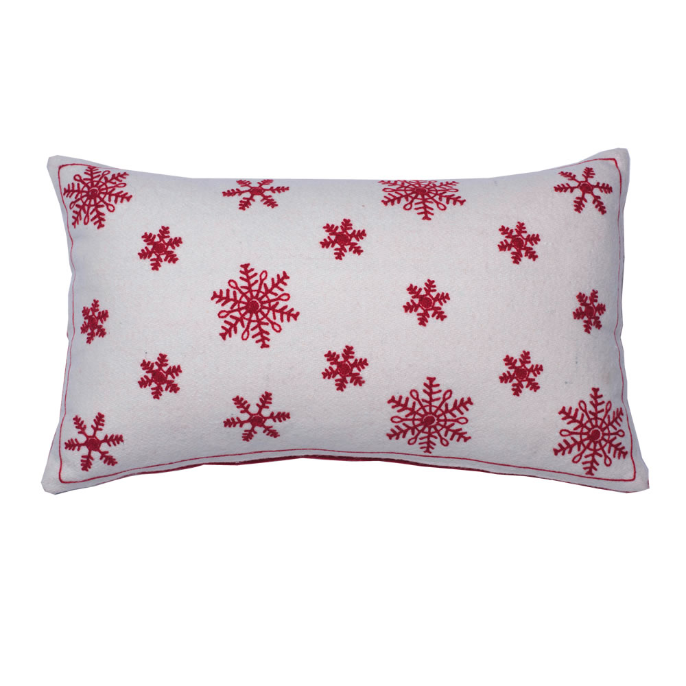 12 Inch White With Red Wool Felt Double Sided Aari Embroidery Let It Snow Decorative Christmas Pillow