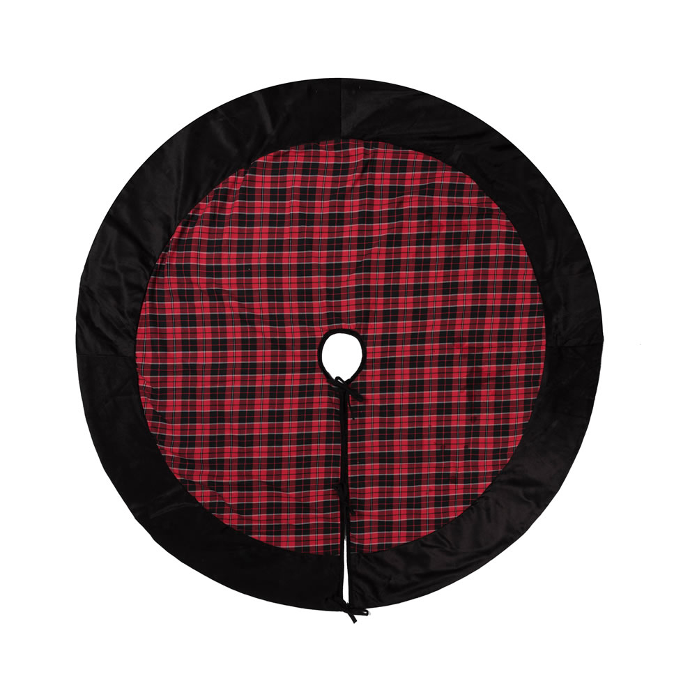 60 Inch Red and Black Cotton Holiday Plaid With Poly Velvet Border MacKenzie Decorative Christmas Tree Skirt