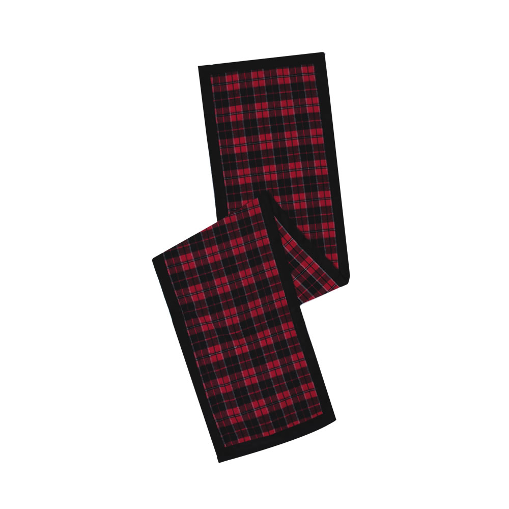 Red Black Cotton Holiday Plaid With Poly Velvet Border MacKenzie Decorative Christmas Table Runner