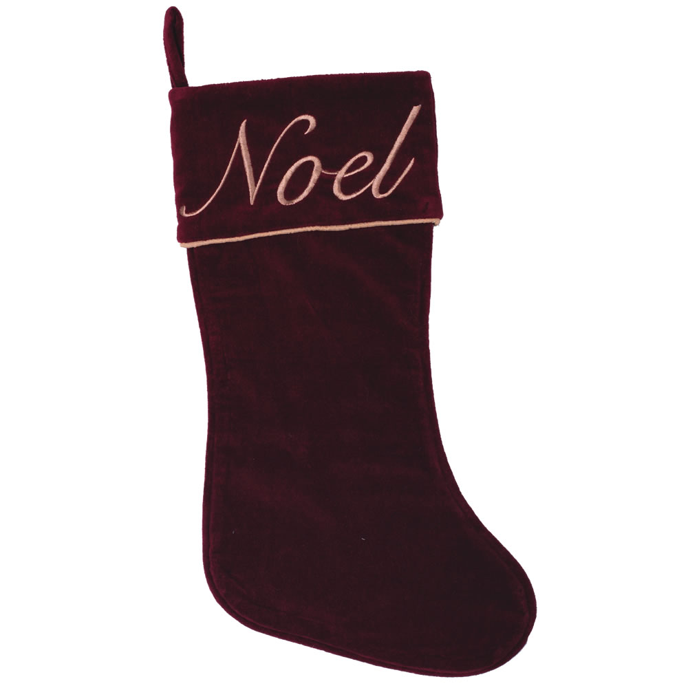 Burgundy Cotton Velvet Embroidered Motif Cuff and Gold Twist Cord Noel Decorative Christmas Stocking