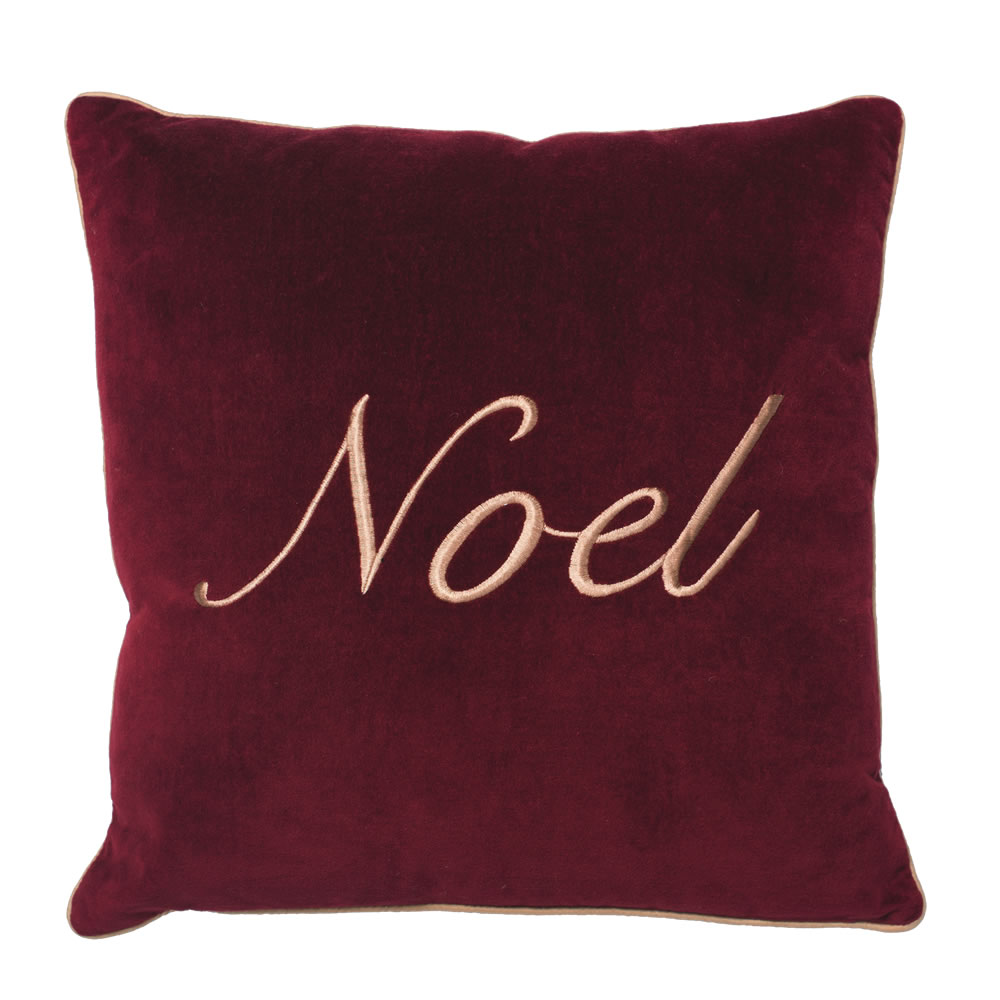 18 Inch Burgundy Cotton Velvet Embroidered Motif and Gold Twist Cord Noel Decorative Christmas Pillow