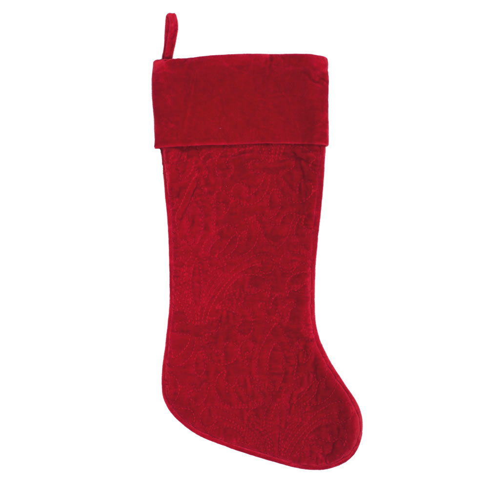 Red Cotton Velvet Embroidered Quilted Christmas Eve Decorative Christmas Stocking