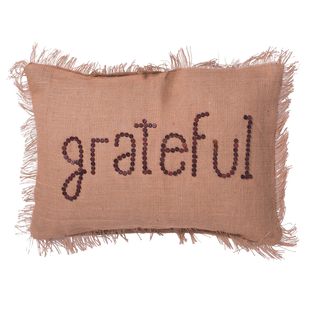 14 Inch Rustic Harvest Burlap With Self Fringe Edge and Wood Button Wording Grateful Decorative Christmas Pillow