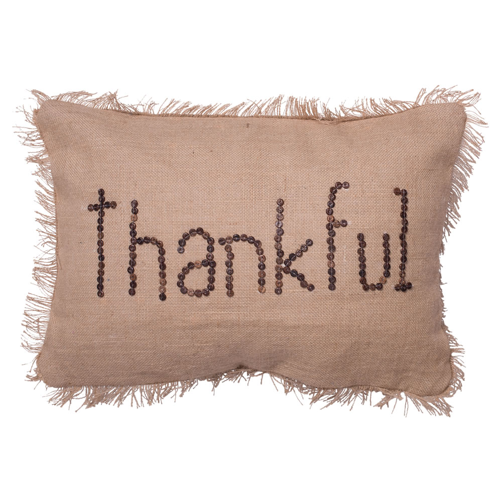 14 Inch Rustic Harvest Burlap With Self Fringe Edge and Wood Button Wording Thankful Decorative Christmas Pillow