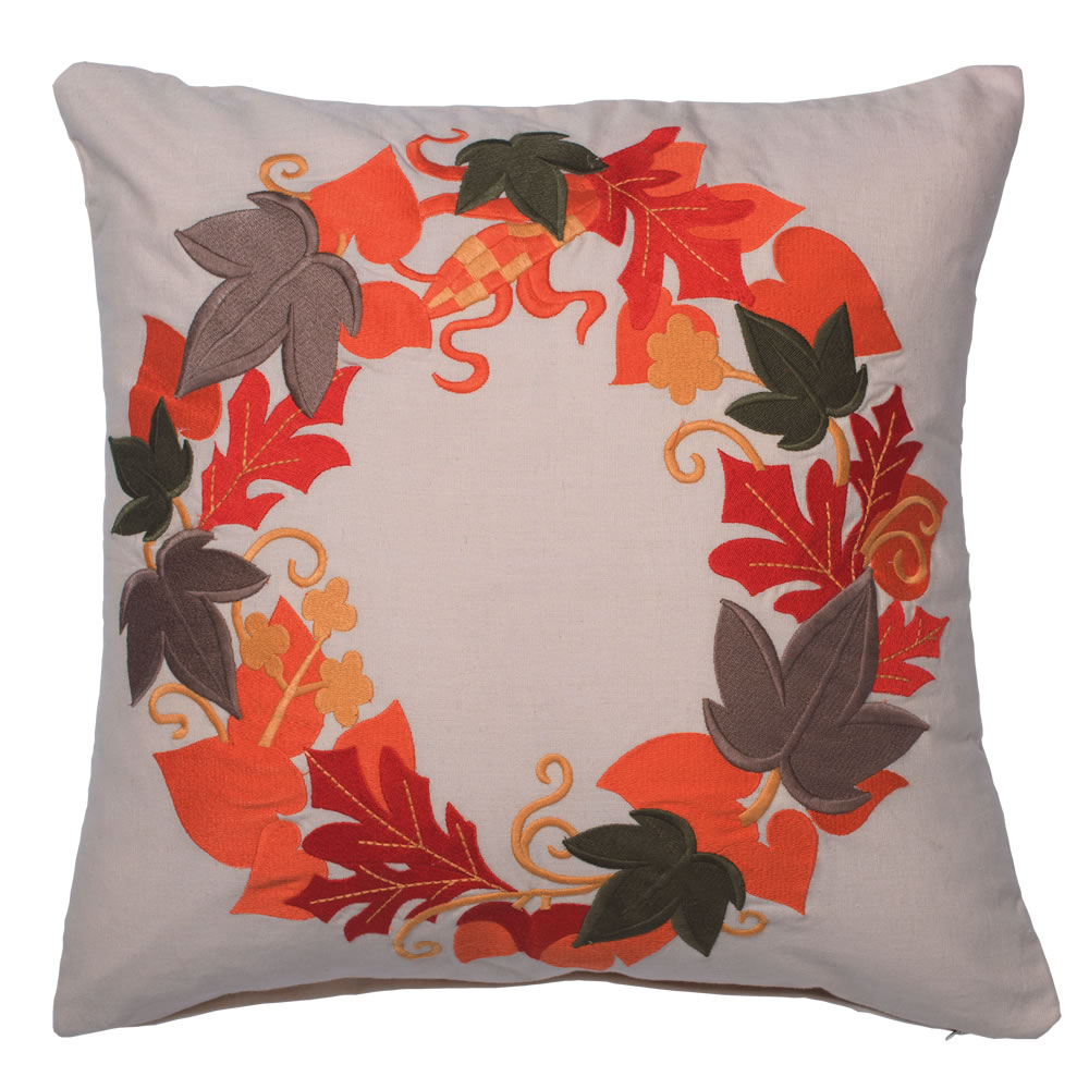 18 Inch White Natural Cotton With Embroidered Fall Leaf Harvest Wreath Decorative Holiday Pillow