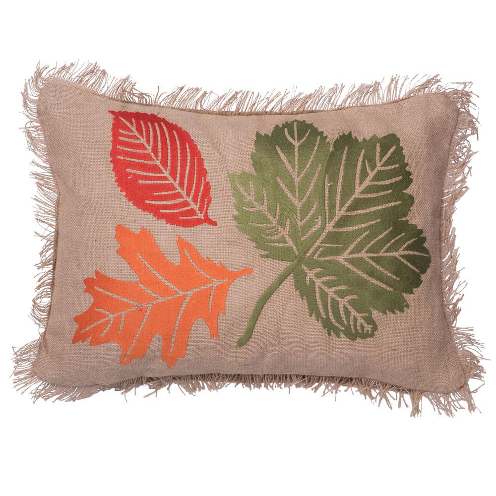 18 Inch Burlap Embroidered Self Fringe Edges Colorful Fall Harvest Leaves Decorative Holiday Pillow