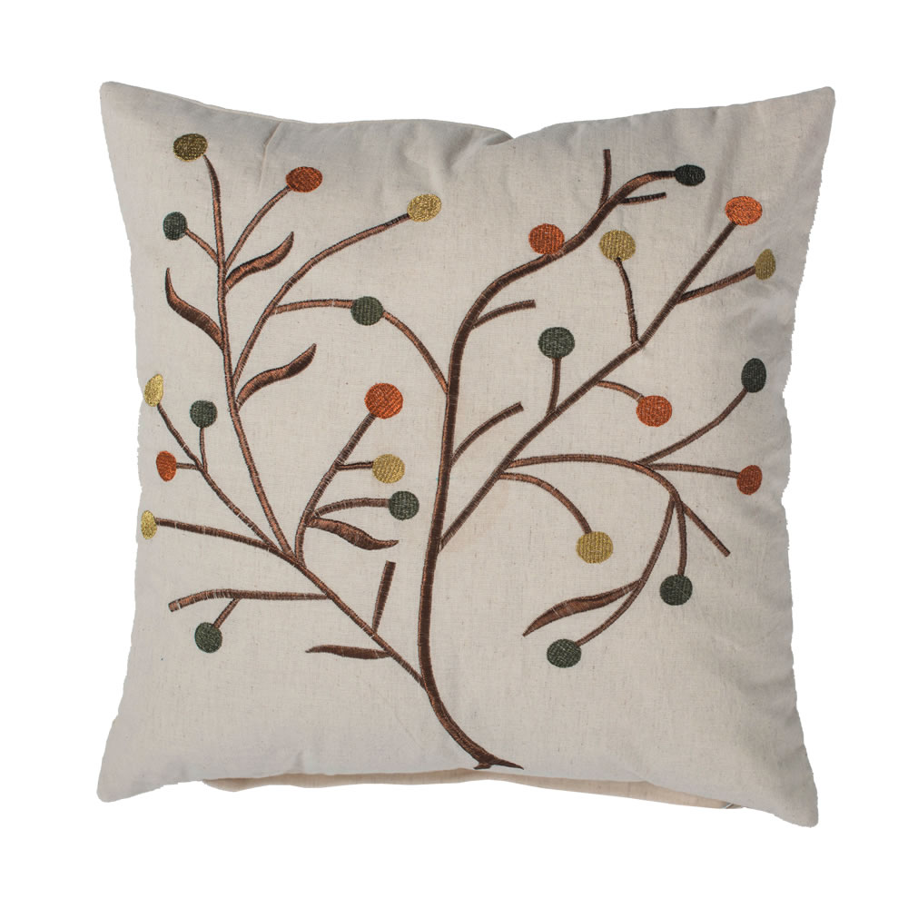 18 Inch Natural Cotton Linen Flex Cloth Embroidered Branches and Berries Harvest Branch Decorative Holiday Pillow