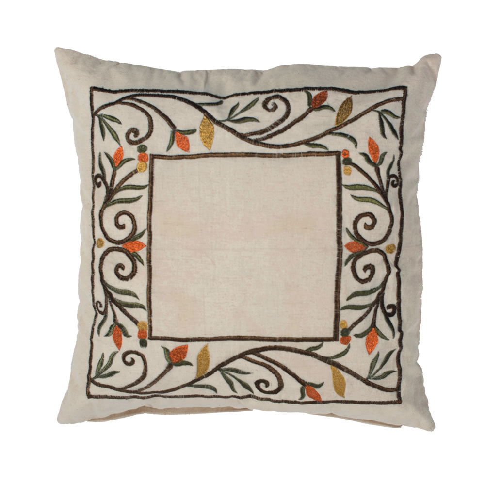18 Inch Beige Natural Cotton Linen Flex Cloth Embroidered Fall Harvest Border Decorative Holiday Pillow