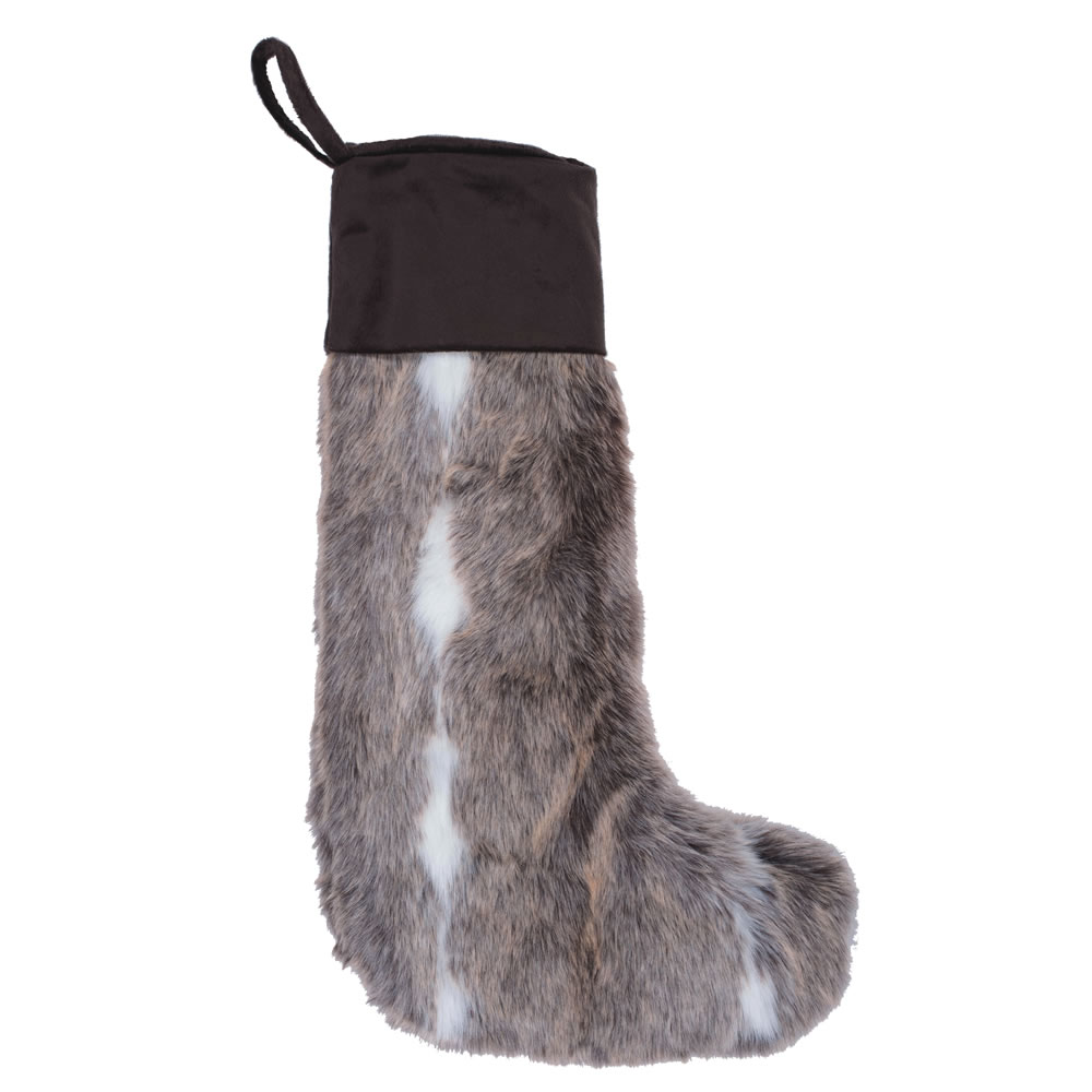 Black and White Plush Stripe Faux Fur Self Cuff Snow Mink Decorative Christmas Stocking
