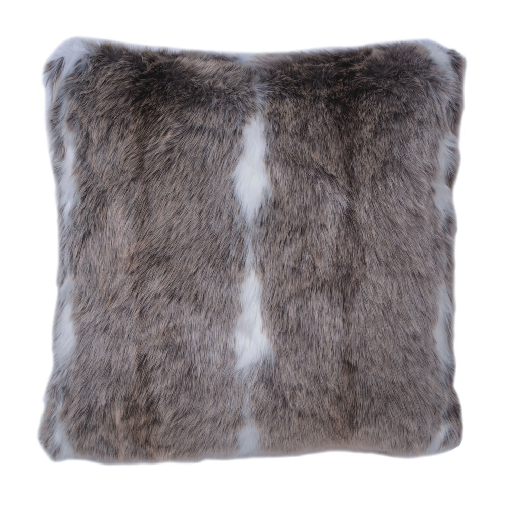 18 Inch Black and White Plush Stripe Faux Fur Snow Mink Decorative Holiday Pillow