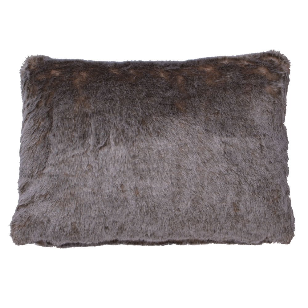 14 Inch Brown Rich Faux Fur Snow Deer Decorative Holiday Pillow