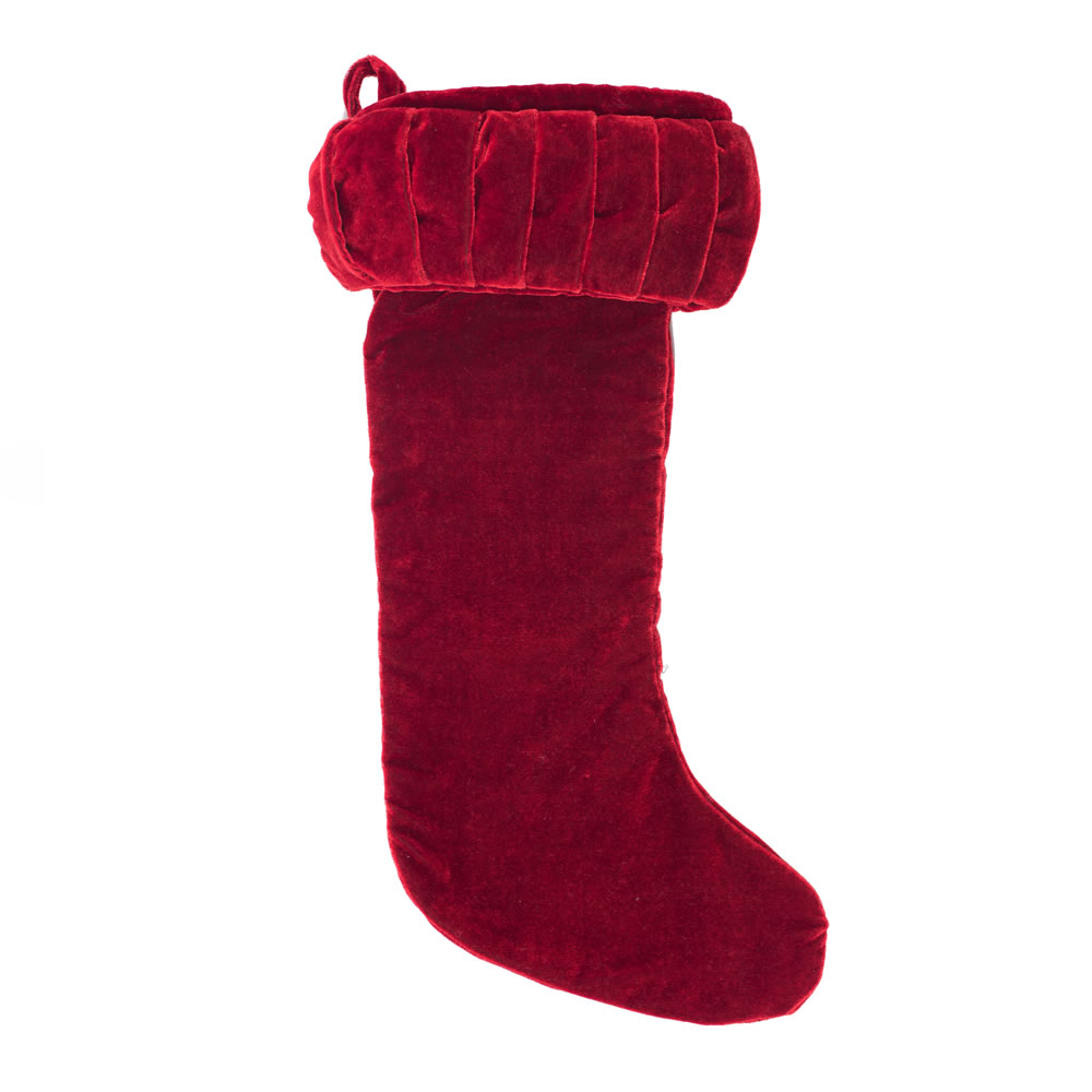 Red Velvet With Elegant Sheen Plush Decorative Christmas Stocking