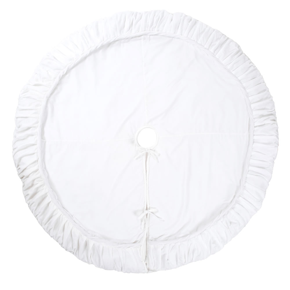 72 Inch White Velvet With Elegant Sheen Plush Decorative Christmas Tree Skirt
