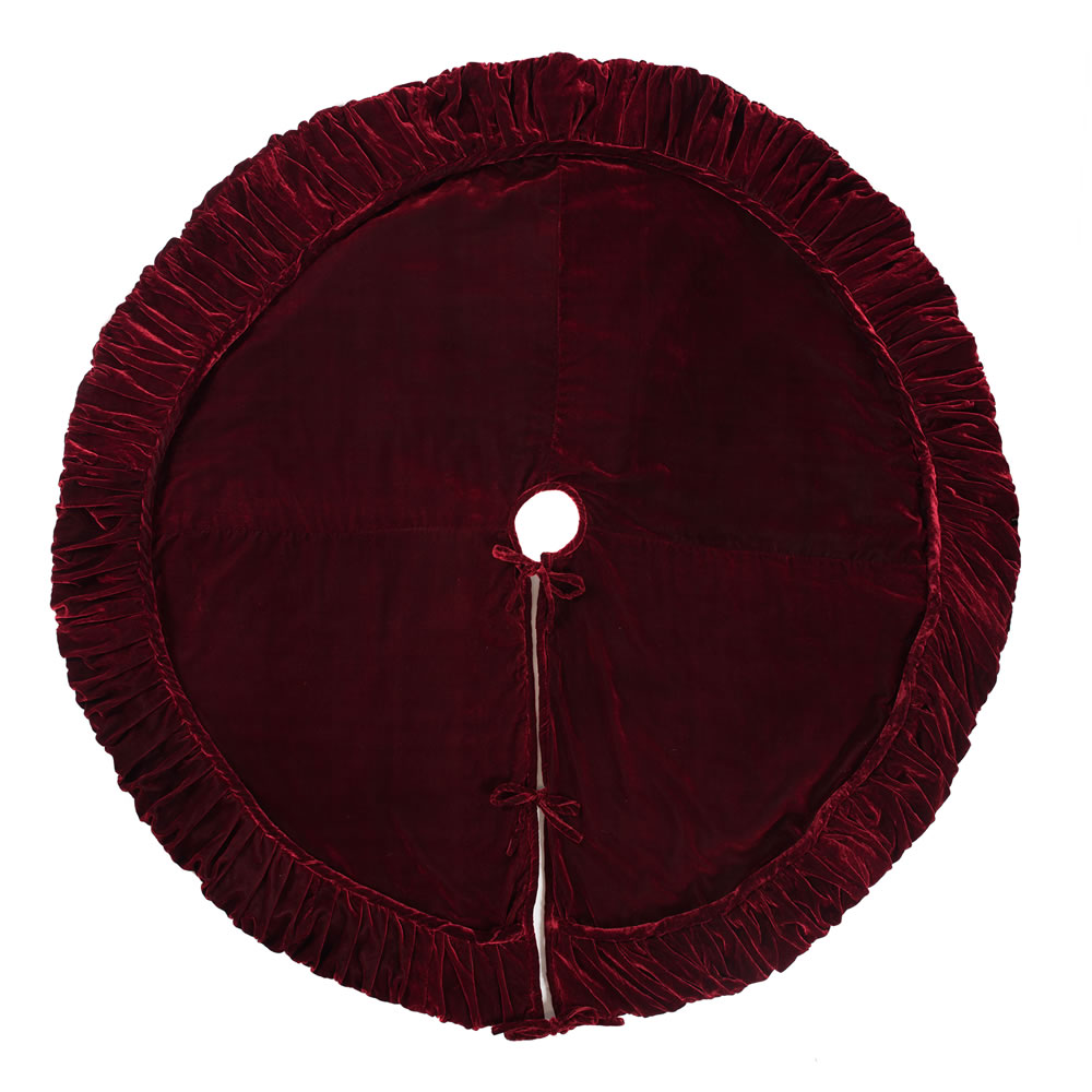 60 Inch Burgundy With Elegant Sheen Plush Wine Velvet Decorative Christmas Tree Skirt