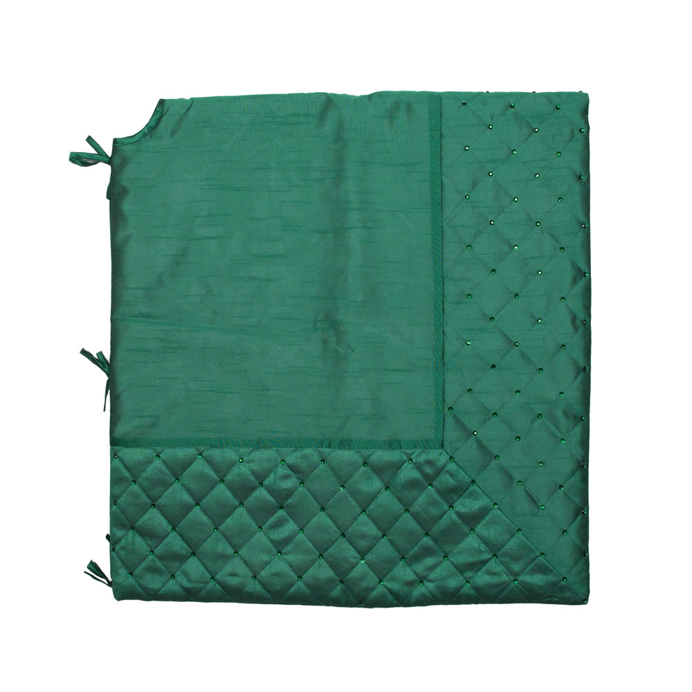 52 Inch Green Quilt Stitch Jewel Decorative Christmas Tree Skirt