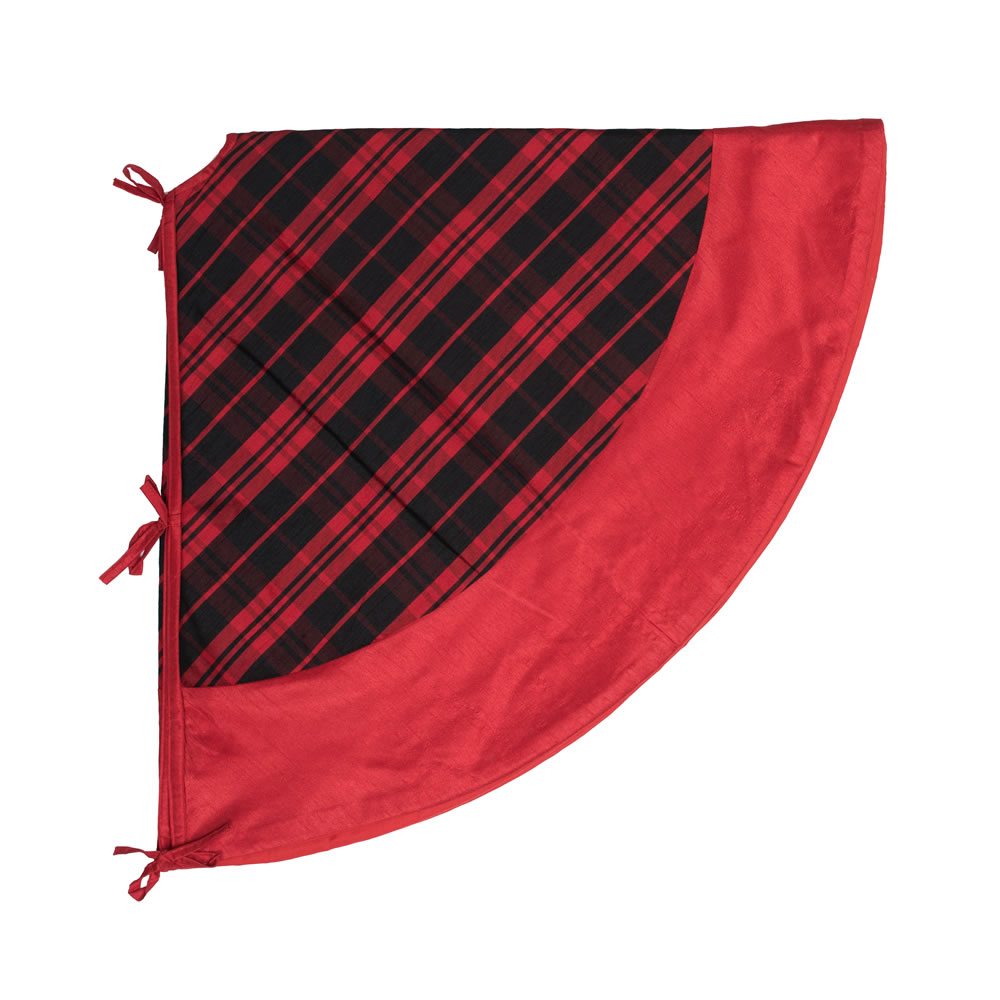 52 Inch Red and Black Plaid with Red Trim Decorative Christmas Tree Skirt