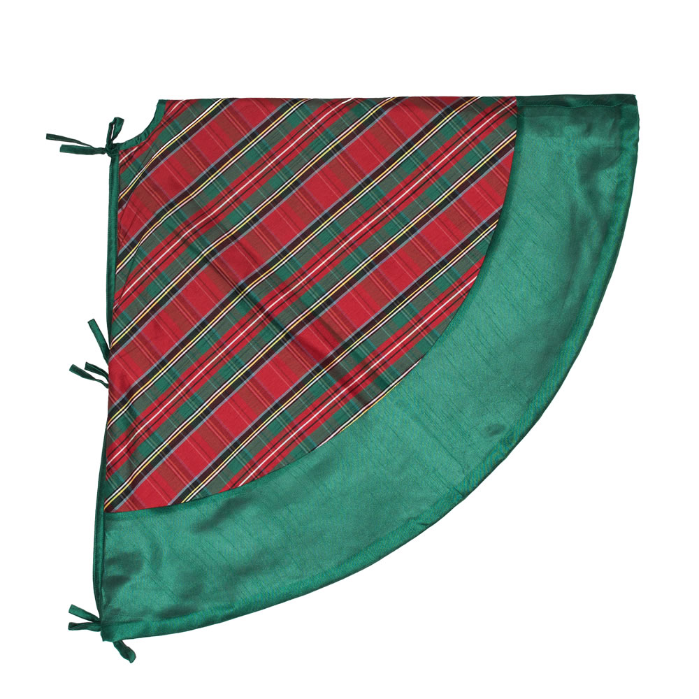 52 Inch Red and Green Plaid with Green Trim Decorative Christmas Tree Skirt