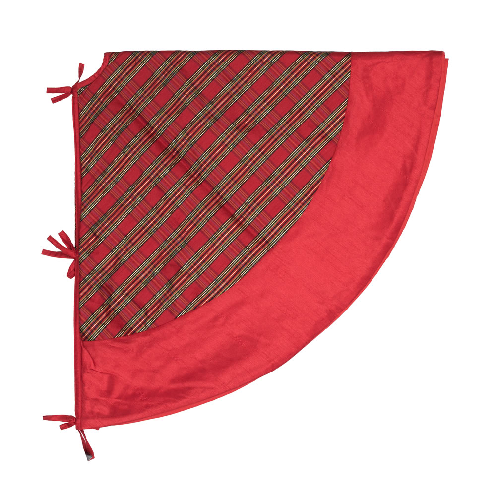 52 Inch Red and Gold Plaid with Red Trim Decorative Christmas Tree Skirt