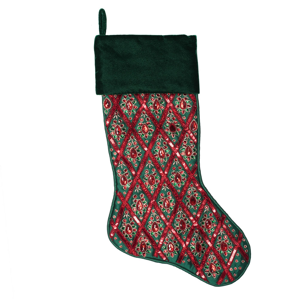 20 Inch Green and Red Sequin Diamond Decorative Christmas Stocking